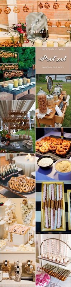 Rustic pretzel wedding dessert food bar for wedding reception / http://www.deerpearlflowers.com/wedding-catering-trends-dessert-bar-ideas/