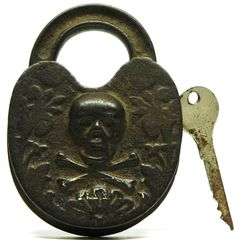 Antique STORY PADLOCK Figural SKULL & CROSSBONES Ultra Rare! RICH PATINA! c.19th