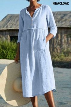 # S-5XL # Middle skirt # Linen, cotton and linen # Hemp wind # Solid color # Multicolor # Round neck # Decorative buckle # A-line skirt # Midi Dress With Sleeves, Half Sleeves, Linen Dresses, Casual Dresses, Maxi Dresses, Linen Summer Dresses, Sleeve Dresses, Cheap Dresses, Cotton Dresses