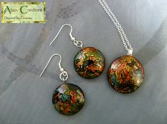Jewellery Set, Crackle Jewelry Set, Pendant and Earrings, Polymer Clay Jewelry, Gift for her by AlanCordiner on Etsy