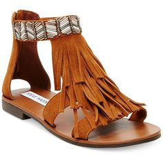 Steve Madden Giaani Fringe Flat Sandals Women's Shoes (565 VEF) ❤ liked on Polyvore featuring shoes, sandals, flats, chestnut suede, suede flats, flat sandals, suede sandals, fringe sandals and flat pumps