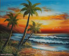 Painting: Hawaii South Pacific Island Sunset Beach Shore Palm Stretched Oil Painting - The Zedign House - Store Beach Sunset Painting, Hawaii Painting, Beach Art, Sunset Beach, Easy Landscape Paintings, Seascape Paintings, Oil Painting Abstract, Painting Wallpaper, Tropical Art