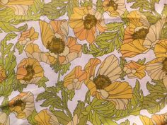 Vintage 1970's Cotton Moygashel Fabric 'Venezia' Jean Saudemont Yellow Poppies in Collectables, Sewing/ Fabric/ Textiles, Fabric/ Textiles | eBay