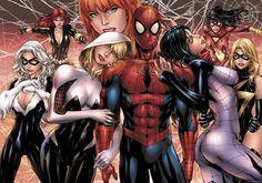 Women of Spider-Man Print, in Dax Stryker Torres's Art Prints: Marvel Comic Art Gallery Room Hq Marvel, Marvel Comics Art, Marvel Heroes, Marvel Women, Comic Superheroes, Marvel Cinematic, Amazing Spiderman, Black Spiderman, Marvel Comic Character