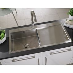 Astracast® Vantage Single Bowl Inset Sink and Drainer in Brushed Steel Kitchen Taps, Buy Kitchen, Kitchen Ideas, Stainless Steel Sinks, Brushed Stainless Steel, Inset Sink, Sink Mixer Taps, Bowl Sink, Chrome Plating