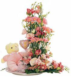Γιά τήν Γέννηση Birthday Gifts, Floral Wreath, Flower Birthday, Teddy Bear, Fantasy, Flowers, Plants, Pink, Painting