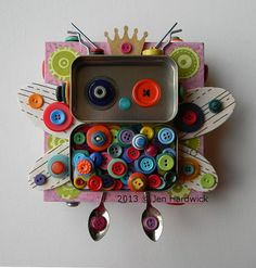 """Recycled Art Assemblage - """"Button Fairy Bot"""" - Original Mixed Media  http://www.etsy.com/shop/redhardwick"""