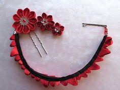 Rose Wrap Kanzashi Flower Bun Wrap Finishing by MountainMusings Cloth Flowers, Diy Flowers, Flowers In Hair, Fabric Flowers, Ribbon Art, Ribbon Crafts, Ribbon Bows, Ribbons, Kanzashi Tutorial