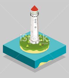 Illustration Isometric Lighthouse Royalty Free Stock Vector Art Illustration