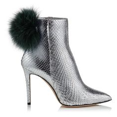 Jimmy Choo Tesler 100 Silver Python Booties With Bottle Green Fox Fur Pom Poms In Silver/bottle Green Mix Jimmy Choo, Fall Shoes, New Shoes, Snake Print Boots, Stiletto Heels, High Heels, Silver Boots, Fur Pom Pom, Pom Poms