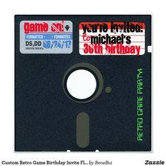 Custom Retro Game Birthday Invite Floppy Disk 5.25