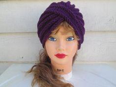 Knit Turbans Purple Turban hat hand knitted womens by Ritaknitsall