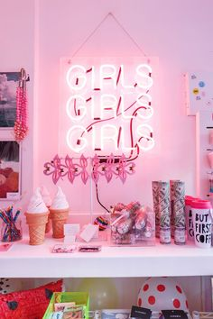 "Tour Ban.Do's Glittery, Colorful, & Insanely Fun L.A. Office #refinery29  http://www.refinery29.com/bando-office-tour#slide-21  It's been nicknamed the ""Girls Pop-Up"" because of the signature neon light, which Jen and Emily had made in downtown Los Angeles. (Go ahead; you know you want to pin this.)"