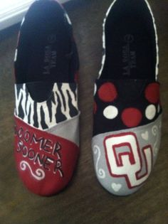 Oklahoma Sooners Hand painted canvas shoes by EmmaLeaDesigns, $65.00