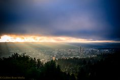 Sunrise over Portland, Oregon. Taken at the historic Pittock mansion in the west hills.
