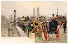 Postcard of London Bridge by Henri Cassiers. #art #vintage #postcards