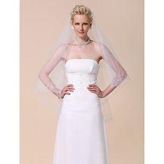 two-tier véu do casamento dedo com a borda frisada – BRL R$ 69,47