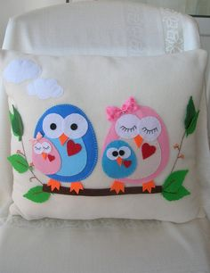Owl family pillows by Lilamina on Etsy, $29.90
