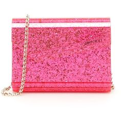 Neon Glitter Candy Clutch ($584) ❤ liked on Polyvore featuring bags, handbags, clutches, womenbagsclutches, pink purse, pink crossbody, jimmy choo purses, pink crossbody purse and chain crossbody