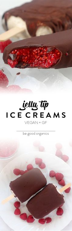 Jelly Tip Ice Creams - Be Good Organics. With raspberries, chia seeds, coconut cream, banana and chocolate. Vegan and gluten free.