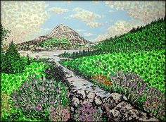 'Mount Errigal' art sold by Fine Art America. #irishart #irishartists #alanhogan #mounterrigal #donegal #gweedore #ireland #mountains #green #pointillism #art #arte #impressionism #kunst #konst #postimpressionism #fineartamerica #neopointillism #nature #creations #artistic Irish Art, Post Impressionism, Pointillism, Art Archive, Donegal, Art Market, Art Boards, Fine Art America, Ireland