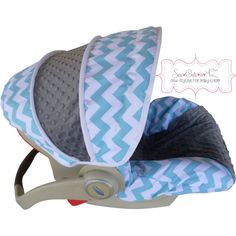 Aqua Chevron with Charcoal Infant Car Seat Cover by sewcuteinaz, $65.00