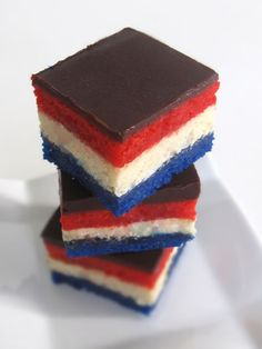 "The link says ""liberty squares"" but I'm pretty sure these are just patriotic rainbow cookies 4th Of July Cake, 4th Of July Desserts, Fourth Of July Food, 4th Of July Celebration, 4th Of July Party, Just Desserts, Delicious Desserts, Dessert Recipes, Yummy Food"