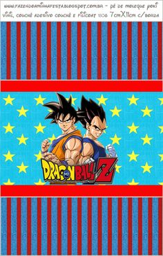 Dragon Ball Z: Free Printable Candy Bar Labels. Dragon Ball Z, Dragon Z, Goku Birthday, Candy Bar Labels, Blogger Templates, Free Printables, Paper Crafts, Party Ideas, Birthday Ideas