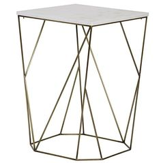 """- Dimensions: 19.5"""" X 19.5"""" X 29""""H - Wood type: Metal & Quartz - Finish: Antique Brass - Please allow 2-3 weeks - ships freight"""