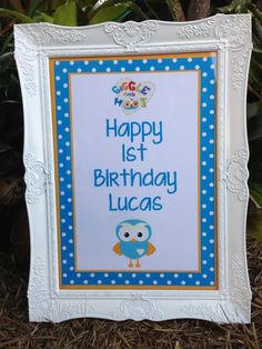 Personalised Giggle and Hoot inspired Birthday Party Sign Print for frame Leo Birthday, 1st Birthday Themes, 2nd Birthday Parties, Birthday Party Decorations, Birthday Ideas, Sign Printing, Party Signs, Party Cakes, First Birthdays
