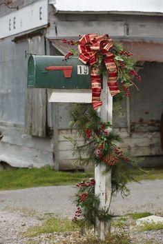 Top 12 Rustic Christmas Mailbox Designs u2013 Easy Backyard Garden Decor Project Idea - DIY Craft & Christmas Mailbox Swag MailBox Decor Red and Green | Pinterest ...