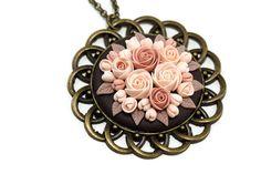 Floral Pendant Necklace Vintage Inspired Beige Creme by KittenUmka