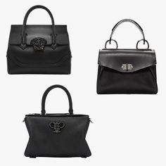 Versace Palazzo Empire medium bag, $2,150,versace.com; Proenza Schouler black small Hava bag, $1,650,ssense.com; Emilio Pucci black leather logo duffle bag, $2,080,ssense.com