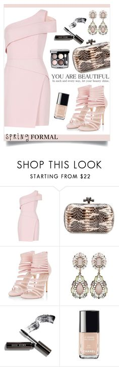 """Spring formal"" by anchilly23 ❤ liked on Polyvore featuring BCBGMAXAZRIA, Bottega Veneta, Bobbi Brown Cosmetics and Chanel"