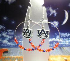 Customizable College Hoop Earrings  Auburn Tigers by joolrylane, $29.00