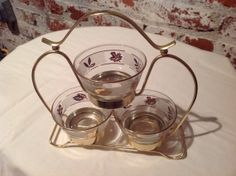 Vintage Libbey Gold Gilt Leaves on Frosted Glass 4 pc Condiment Set