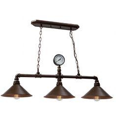 Luminaire suspendu industriel vintage bronze cuivré