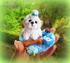 polymer clay maltese doggy