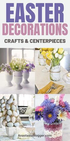 9 Easter Decorations DIY try to do these Easter Crafts and Centerpieces! Easter ideas for a beautiful table - make these crafts with your kids! Dollar store DIY projects Easter egg wreath rustic vintage and elegant - all kinds of decorations for home. Diy Projects Easter, Easter Crafts For Kids, Diy Craft Projects, Decor Crafts, Easter Ideas, Diy Easter Decorations, Egg Decorating, Easy Home Decor, Easter Wreaths