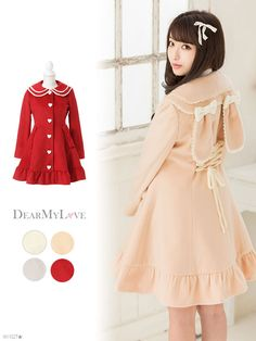 dreamv | Rakuten Global Market: Or large size fall/winter warm coat outerwear backlesupribonpocke trace color rabbit ear sailor color fit Fred along ruffles thick cute white pink red white red white m L LL 3 l / We offer! Women's dream vision 0927 • 10 / 13 planned
