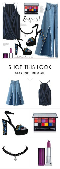 """""""Inspired"""" by mycherryblossom ❤ liked on Polyvore featuring Giuseppe Zanotti, Anastasia Beverly Hills and Maybelline"""