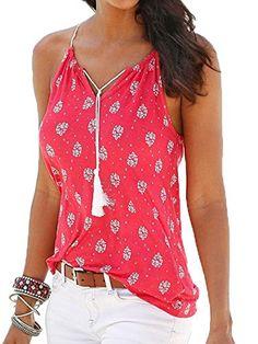 US Womens Floral Print Top Summer Sleeveless Blouse Beach V-Neck Cross Tank Vest