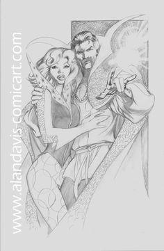 Doctor Strange and Clea by Alan Davis Marvel Comics, Marvel Comic Universe, Marvel Comic Books, Marvel Art, Comic Books Art, Comic Book Pages, Comic Book Artists, Comic Book Characters, Comic Artist