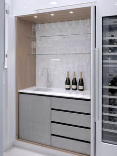 Hidden Kitchen + wine fridge