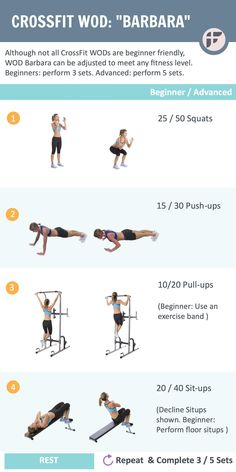 CrossFit WOD Barbara. Beginner friendly CrossFit workout challenge. Download for free to get started today.