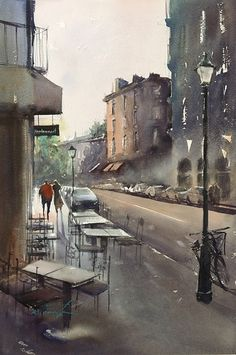Montmartre, Paris IV by Keiko Tanabe Watercolor ~ 21 1/2 x 14 1/4 inches (54.5 x 36 cm)