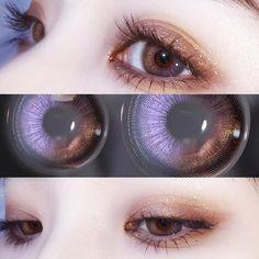 Korean Natural Makeup, Korean Eye Makeup, Purple Contacts, Colored Contacts, Aesthetic Eyes, Circle Lenses, Makeup Inspiration, Character Inspiration, Pretty Eyes