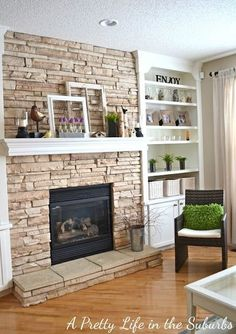DIY Built in Bookshelves Fireplace | Fireplace makeover – built in shelving @ Home DIY Remodeling -We ...
