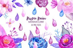Watercolor Clipart Purple Rain- rain drops, purple flower, pink flower, blue flowers, decorative elements for instant download. They perfect for making DIY wedding invitations, blog header, floral letters, art prints, greeting cards and wall arts.  What is included in this collection:  - 36 individual elements, 300dpi, png with transparent background, typically flower 3x3  How to download  The files should be available for download from Etsy after cleared payment. Please contact me there is…