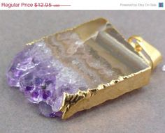 Valentines Day Sale Amethyst Stalactite Slice with 24k Gold Layered Edge Pendant Necklace option BEST PRICING vertical version on Etsy, $12.30